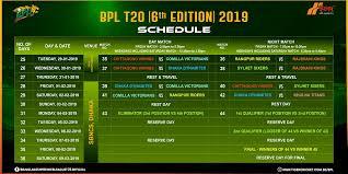 Bpl Fixture 2018 19 Bangladesh Cricket Board