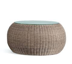 outdoor wicker coffee table with glass top all weather pouf natural pottery barn o