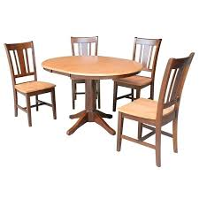 36 round dining table set with leaf and 4 chairs 5 x 60