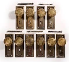Antique Brass Arts Crafts Door Hardware Sets with Knobs Plates