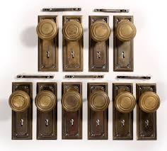 sold antique brass arts crafts door hardware sets with knobs plates two