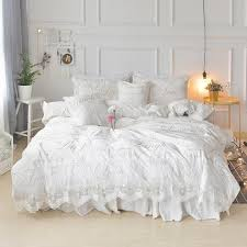 romantic princess ruffle white lace bedding set queen king size bed covers bedspread soft velvet fabric winter textiles sets red and white duvet cover