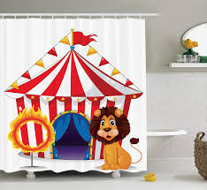 ambesonne circus decor shower curtain set lion and a fire ring in front of the circus tent lightbulbs flame adventure bathroom accessories