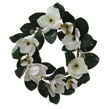 26 white magnolia flower and leaves artificial silk fl wreath unlit walmart