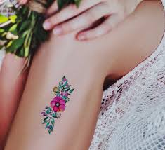 Watercolor Flowers Temporary Tattoo Watercolor Tattoo Wedding Tattoo Wreath Tattoo Gift For Her Colorful Tattoo Wild Flowers