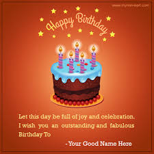 Birthday On Day Card Write Name On Happy Birthday Cake Cards Wishes Greeting Card