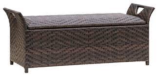 izidora outdoor brown wicker storage ottoman