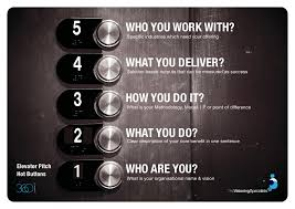 elevator pitch. elevator pitch hot buttons. who you work with? specific industries which need your offering