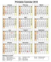 Calendar 2019 Printable With Holidays Printable Calendar Printablecalendar Pictures