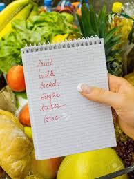 Lista De Compras Para El Supermercado Una Mujer Con Una Lista De La Compra En Un Supermercado En Sus Manos