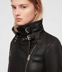 women s bales leather biker jacket black image 2