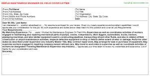maintenance engineer oil field cover letter maintenance engineer cover letter