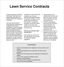 9 Lawn Service Contract Templates Pdf Doc Apple Pages