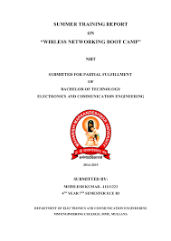 Training Report Cover Page Training Report Cover Page