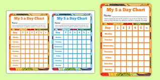 5 A Day Sticker Reward Chart Healthy Eating Healthy Food