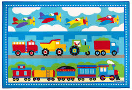 train airplanes construction trucks area rug blue red medium or large kids room rug