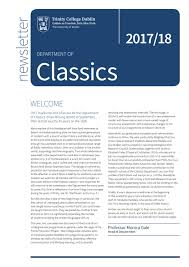 Department Of Classics Newsletter 2018 Trinity College Dublin By