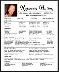 Professional Acting Sample Resume 1 Film Example