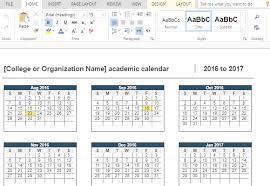 2016 2017 Academic Calendar For Word