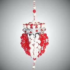white beaded chandelier red tea ball ornament earrings