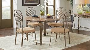 alegra metal 5 pc round dining set with stone top room sets within table idea 2