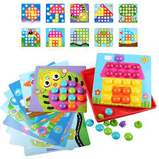 AMOSTING Color Matching Mosaic Pegboard Early Learning Educational Toys for Boys and Girls Toddler Crafts 2 Year Olds: Amazon.com