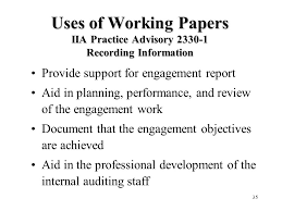 state of the art audit evidence ppt video online  uses of working papers iia practice advisory 2330 1 recording information