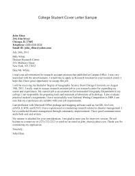 Sample Cover Letter For College Student College Student Resume Cover