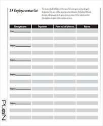 employee contact list template 43 list templates in pdf