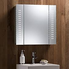 Illuminated Bathroom Mirror Cabinet with Concealed Demister Shaver