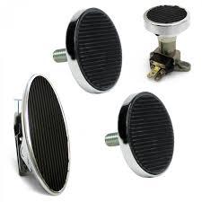 oval floor mount gas pedal round brake clutch dimmer pad chromed billet rod