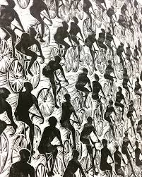 like this item  on peloton abstract cycling team metal wall art with bicycle peloton ii wall art print black and white bike art