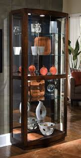 Glass Curio Cabinets With Lights Cherry Curio Cabinet With Recessed Lighting And Glass Shelves