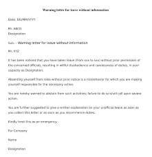 warning letter to employee for leave