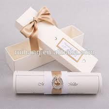 Glamorous Handmade White Scroll Wedding Invitation Card With