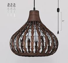 kiven plug in bamboo rattan chandelier pendant lighting e26 base dimmable lamp 15 foot black cord with dimmer switch bulb not included ul listed