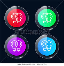 vector square blue icon lighting bulb. light bulb four color glass button ui ux icon glossy app logo vector square blue lighting m