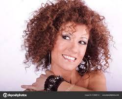 Krásy Portrét Krásné ženy účes Kudrnatými Vlasy Stock Fotografie