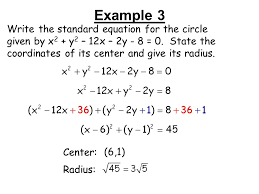 example 3 write the standard equation for the circle given by x2 y2 12x