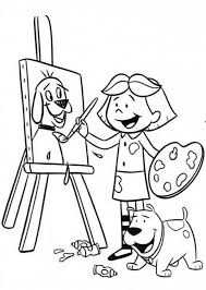 Small Picture Little Girl Paint Picture of Her Dog Colouring Page Happy Colouring