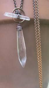 quartz long necklace statement necklace wire by daniellerosebean