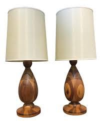 Turned Wood Table Lamp Base White Wooden Floor Vintage Threshold