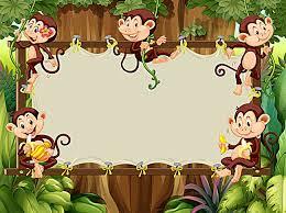 Children Education Cartoons Happy Little Monkey Cartoon Children Background Panels Cartoon