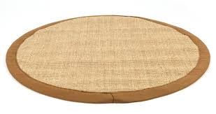 natural sisal round rug with brown border 180cm