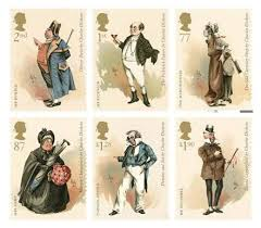 royal mail stamps celebrate works of charles dickens 2nd class mr bumble from oliver twist 1st cass mr pickwick from the pickwick papers 77p the little ioness from the old curiosity shop