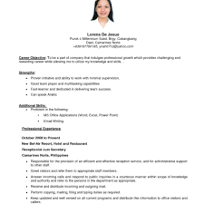 Resume Format Templates Examples Of Resumes Example Simple Filipino