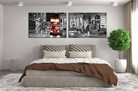 2 piece canvas wall art bedroom large pictures cityscape huge canvas art panoramic on black red and white wall art with 2 piece canvas wall decor city artwork black and white huge canvas