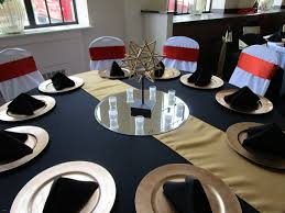 ... Black Tablecloth White Chair Covers Lovely Black Tablecloth And Napkins  Gold Runner And Chargers White ...