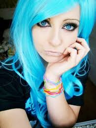 blue emo scene hair style bibi barbaric sitemodel queen eyes make up piercings colorfull bands