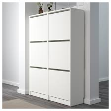 Ikea Shoe Drawers Bissa Shoe Cabinet With 3 Compartments White 49x135 Cm Ikea
